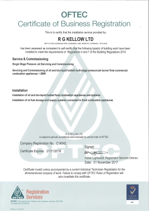 OFTEC CERTIFICATE EXPIRES 21 NOVEMBER 2018